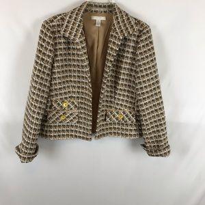 Chico's Sz 2 Tweed Jacket Blazer Work  Career